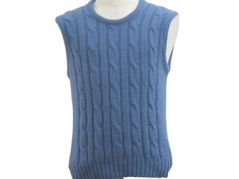 mens cable knit sweater vest seventies vintage sweater 70s missing label mens medium