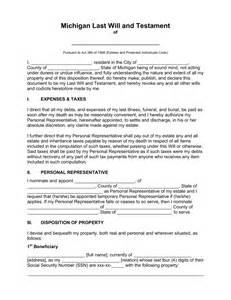 Sle Of Will Letter by Free Michigan Last Will And Testament Template Pdf Word Eforms Free Fillable Forms