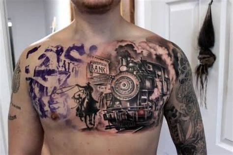 chest tattoo cover up clothing men chest cover up with cowboy western train tattoo