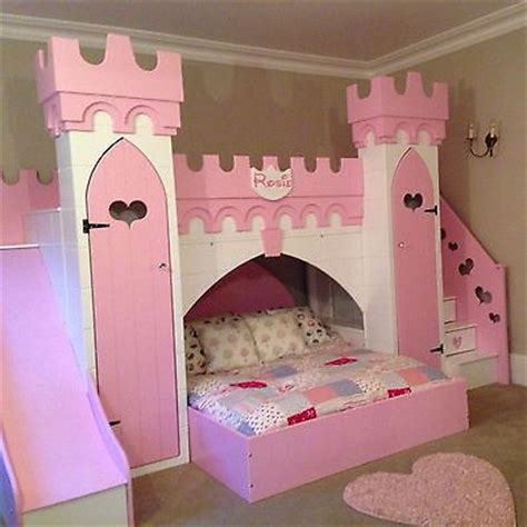 Princess Castle Bed With Slide Play Area Other Bed Above Princess Bed With Slide