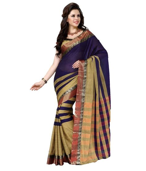 Where To Buy Cheap Home Decor Online by Buy Blue Plain Cotton Saree With Blouse Online