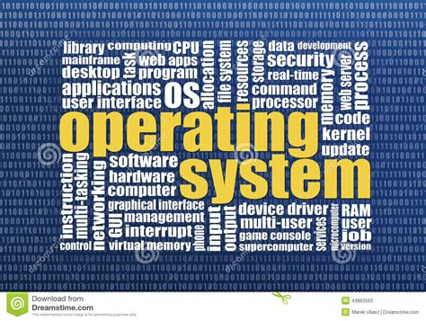 operating system word cloud stock illustration image