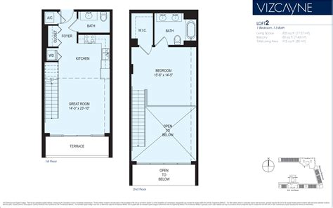 2 story loft floor plans vizcayne tower floorplans miami