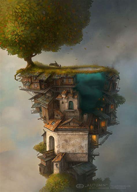 surreal worlds digitally painted  gediminas