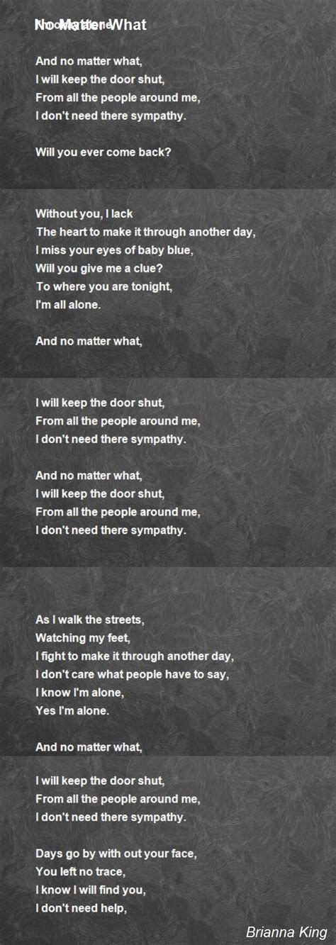 no matter what i do no matter what poem by king poem
