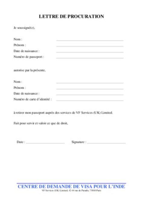 Lettre De Procuration Pour Retirer Un Visa Modele Procuration Retrait Visa Document
