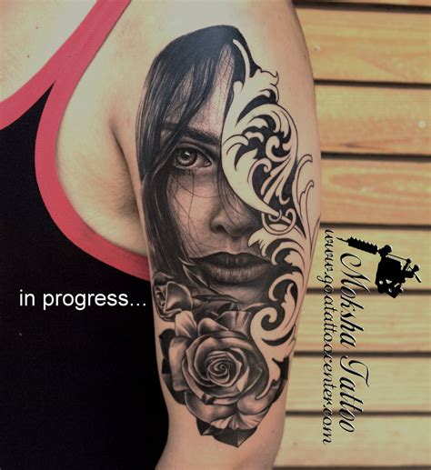 indian rose tattoo s portrait with done by mukesh waghela at