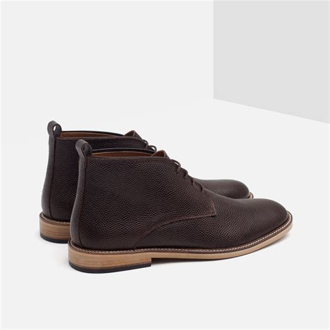zara boots zara leather desert boots in brown for lyst