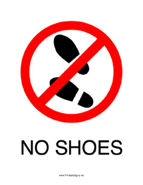 with no shoes printable no shoes sign