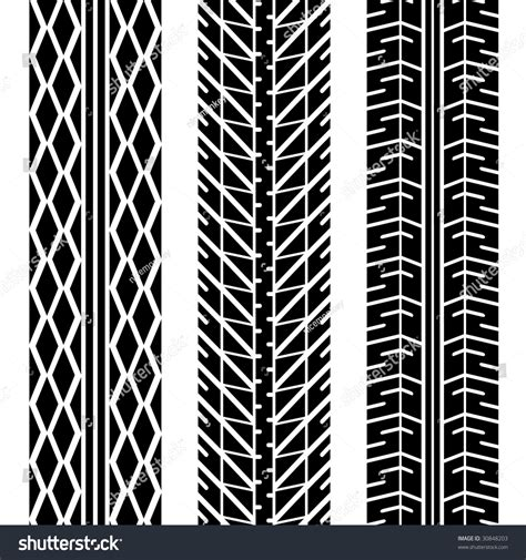 tread pattern en français three different tire tread patterns black stock vector