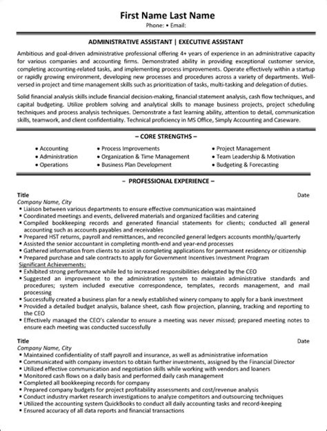 Resume Administrative Assistant Canada Top Administrative Resume Templates Sles