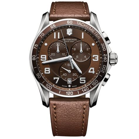 Swiss Army Leather Silver lyst victorinox mens chronograph classic xls brown