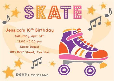 river bridge retro roller skate party invitation