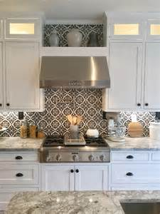 cement tile backsplash black and white cement tile farmhouse kitchen with black