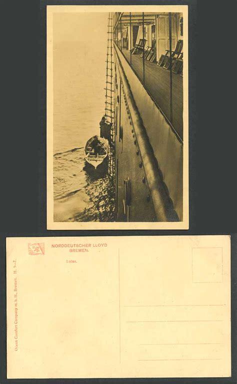 lifeboat ladder lotse lifeboat boat ladder large ship old rp postcard