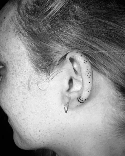 dot tattoo behind ear dainty dots helix ear tattoos that are so much better