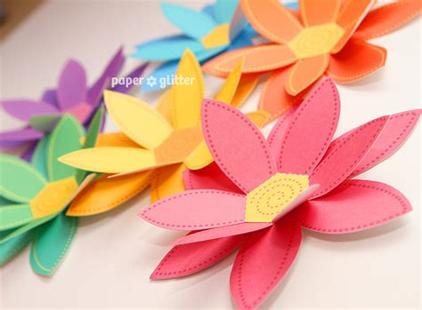 Flower Papercraft - paper flowers rainbow paper craft set 2 sizes by paperglitter