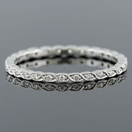ultra thin pave woven milgrain stackable platinum