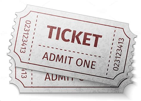 pin blank admit one ticket on a white background stock