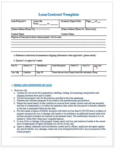 loan template loan contract free printable documents