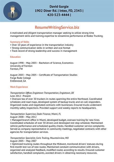 transport facility supervisor resume sample