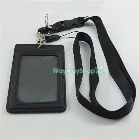leather badge holder lanyard genuine leather id card holder vertical lanyard for retractable badge ebay