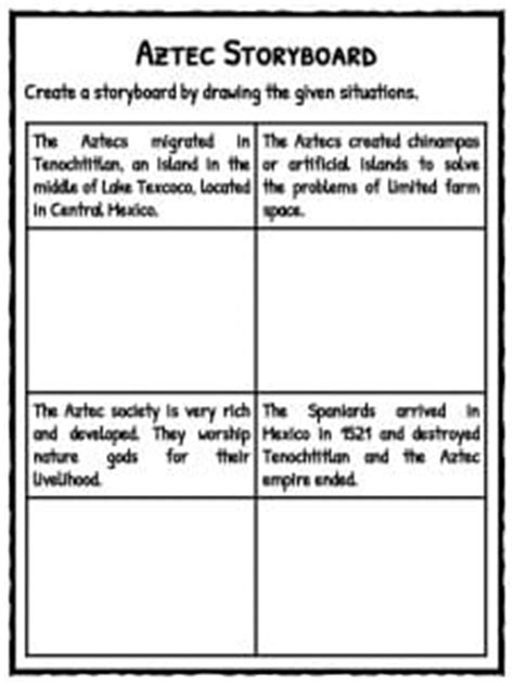 aztec map worksheet ancient aztec facts worksheets historic information for