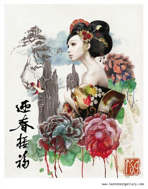 tattoo geisha orientale geisha with chinese words welcome the spring and recieve