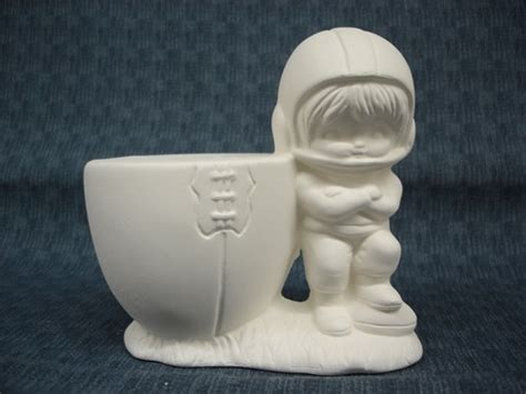 football player ready to paint ceramic bisque kgkrafts