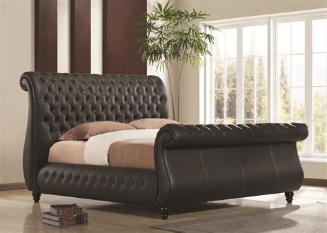 Leather Sleigh Bed Atlanta Black Real Leather Sleigh Bed Narborough Beds
