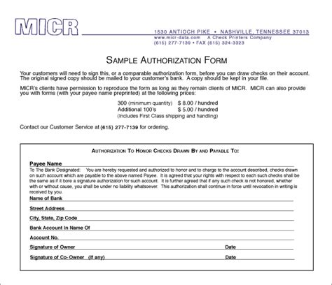 as an form sle authorization form