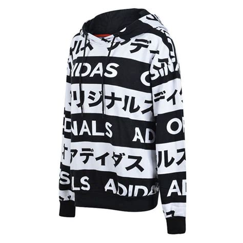 adidas originals typo monogram japanese katakana aa2489 black white hoodie apparel