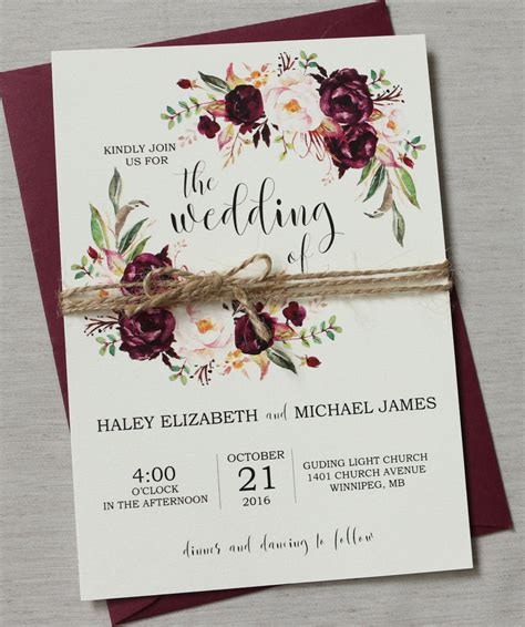 Marsala Wedding Invitation Suite Burgundy Pink Bohemian Maroon Wedding Invitation Templates