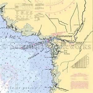 Coastal Kitchen Table - florida steinhatchee deadman bay nautical chart decor
