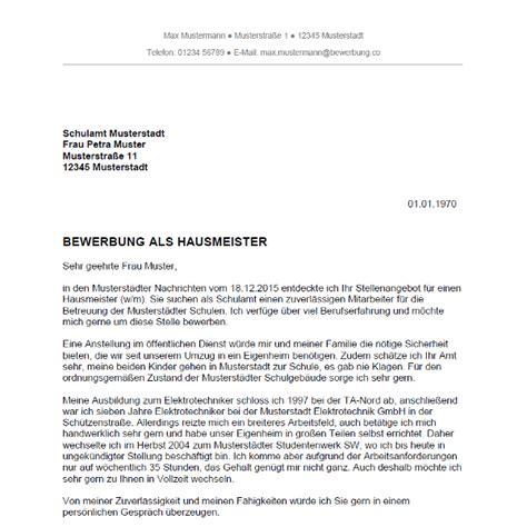 Bewerbung Anschreiben Muster Hausmeister Bewerbung Als Hausmeister Bewerbung Co