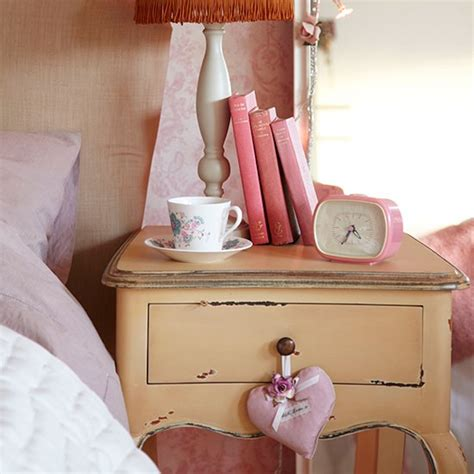 shabby chic bedside table bedroom decorating