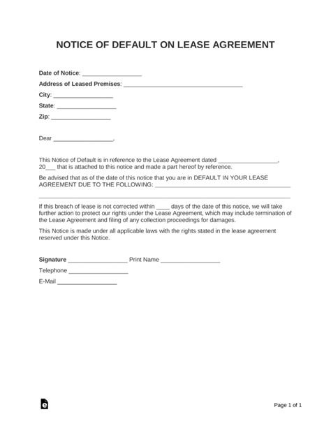 notice of default letter template notice of default letter template gallery free templates