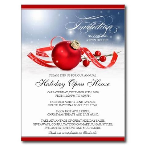 christmas or holiday open house invitation postcard