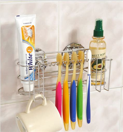 Bathroom Toothbrush Storage 6 Toothbrush Holder Stainless Steel Rack Dual Vacuum Suction Cups Tumbler Hanger Ebay