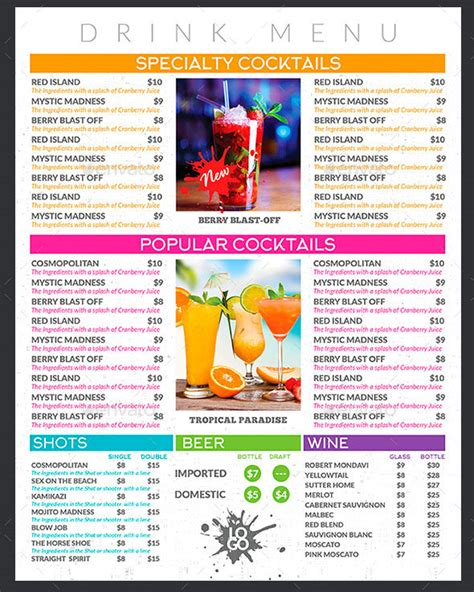 Juice Menu Card Templates by 40 Effective Psd Restaurant Menu Design Templates Web