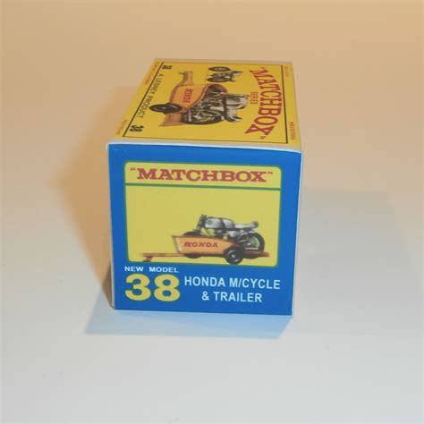 matchbox honda matchbox lesney 38 c honda motor bike yellow trailer