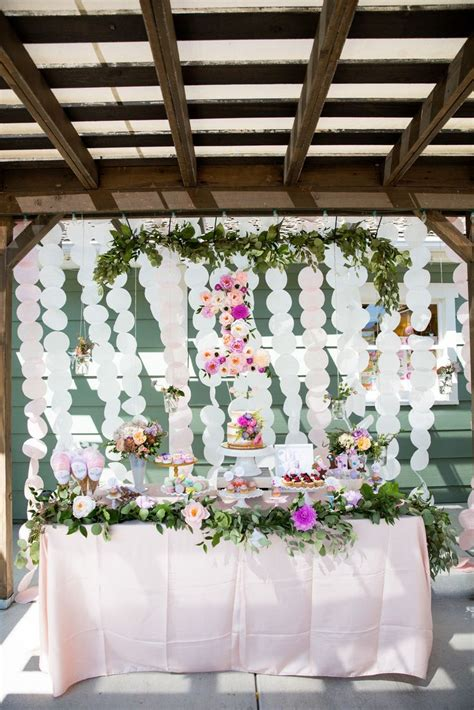 Garden Theme Ideas 1st Birthday Garden Dessert Table This Was A Pink And Purple Theme With Flowers