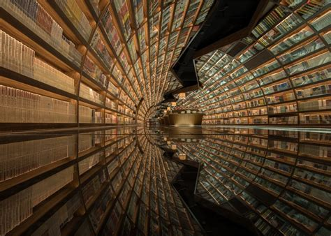 Ceiling Design Book Tunnel Of Books Shelves Wrap Curved Bookstore Walls