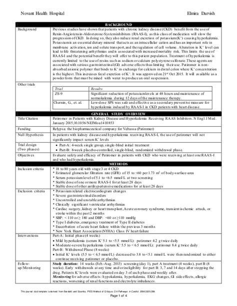 journal club template hyperkalemia jc