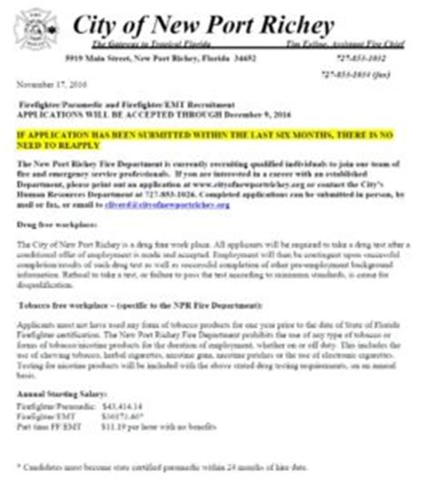 city of new port richey hiring ff lake tech s career center
