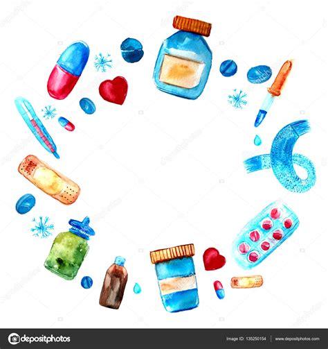 Illustrasi Frame watercolor medicine tablets and pills capsules frame