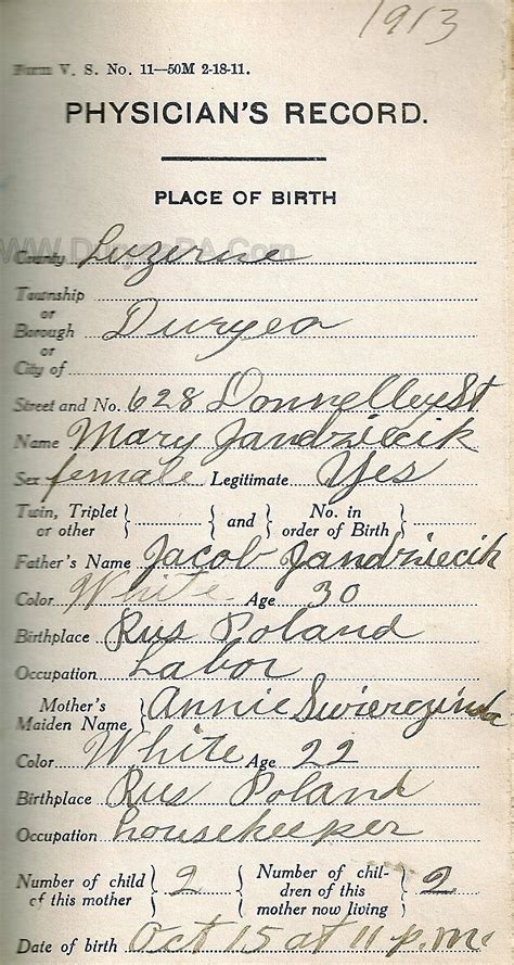 Birth Records Pa Duryea Pennsylvania Historical Homepage Wanda 1910 To 1931 Birth Records Page