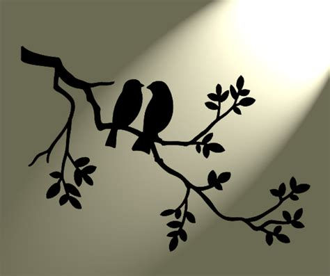 Tree Branch Home Decor by Shabby Chic Stencil 2 Birds In Tree Rustic Mylar Vintage