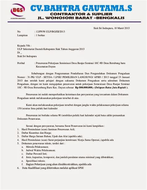 bentuk dokumen penawaran surat penawaran pengadaan eprocurement
