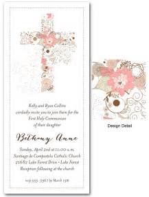holy communion invitations templates communion invitations pink cross of flowers